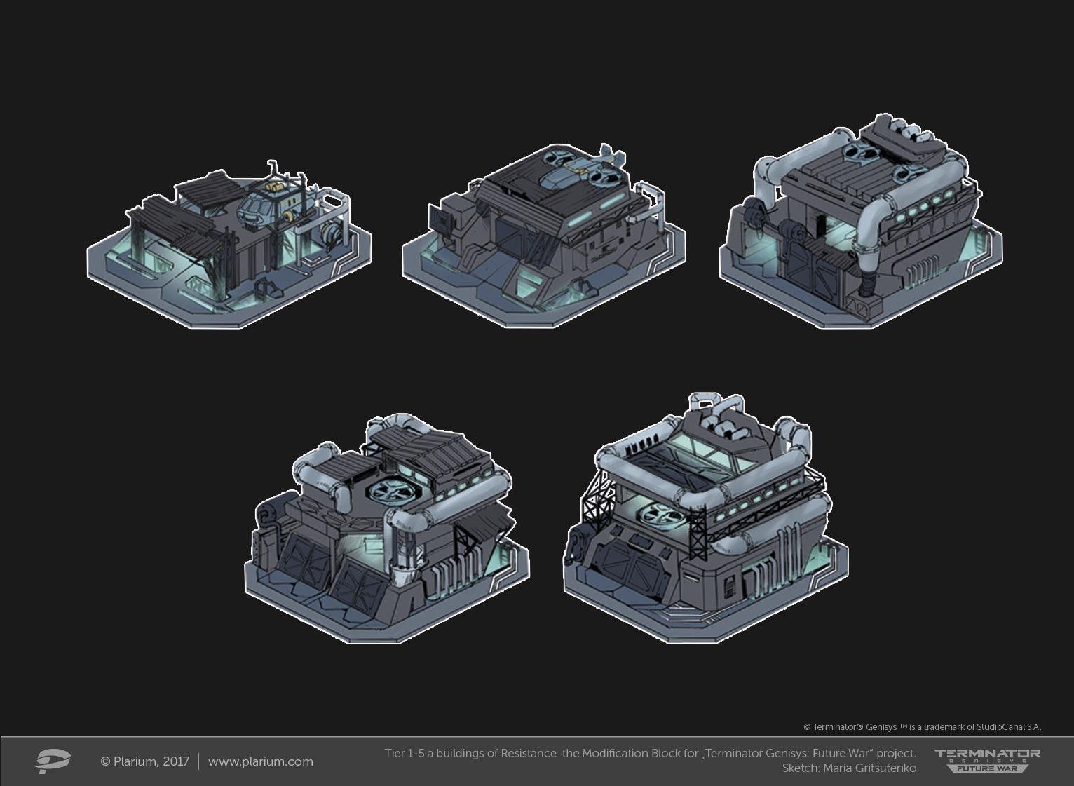 "ArtStation - Tiers 1-5 a buildings the Modification Block for ""Terminator Genesis: Future War"" project, Maria Gritsutenko"