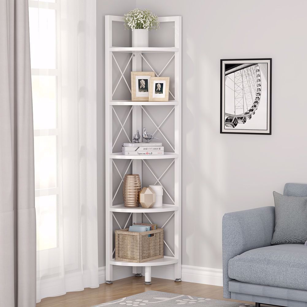 This Narrow Shelving Unit Fits Great In Any Corner Of The Living Room Bedroom Ho In 2020 Corner Shelves Living Room Shelf Decor Living Room Small Living Room Storage
