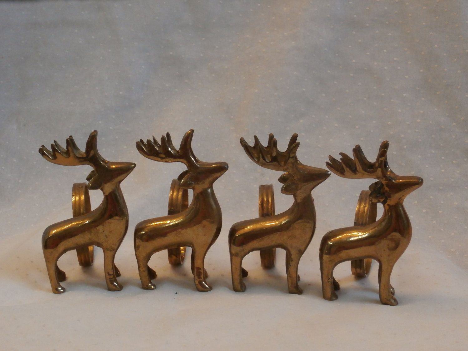 Exceptional 4 Vintage Brass Reindeer Napkin Rings, Great For Christmastime Or Anytime Photo Gallery