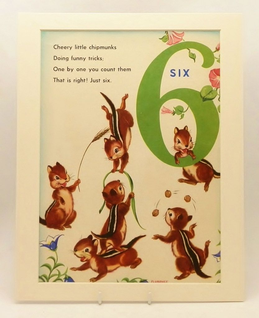 Vintage Cheery Chipmunks (Kids Wall Art, Baby Nursery Decor ...