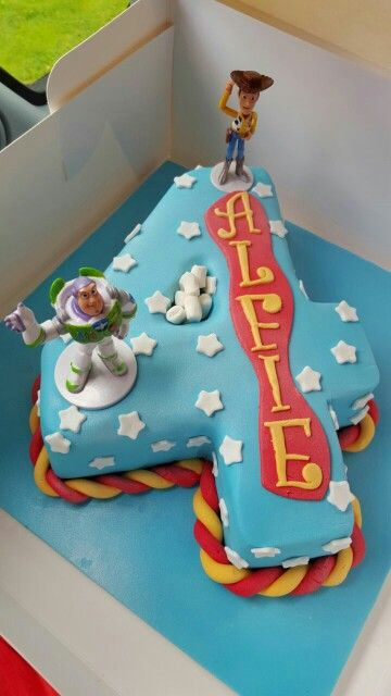 Toy Story Number 4 Shaped Birthday Cake Buzz Woody 4