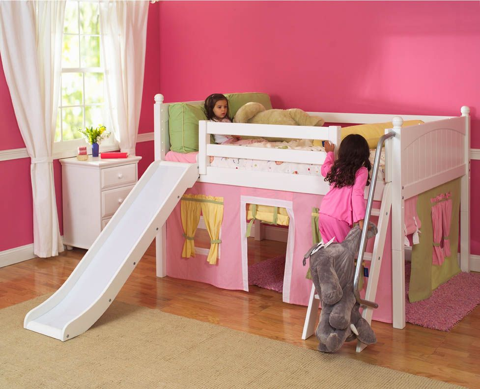 White Wooden Bunk Bed With Slide Low Loft Beds Bed With Slide Loft Bed