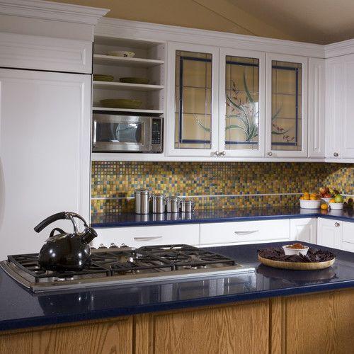 Glass Door For Kitchen Cabinet: Blue And Yellow Tile Backsplash.