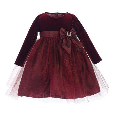 6bc16e67d54a Buy Lito Baby Girls Burgundy Stretch Velvet Glitter Tulle Christmas ...