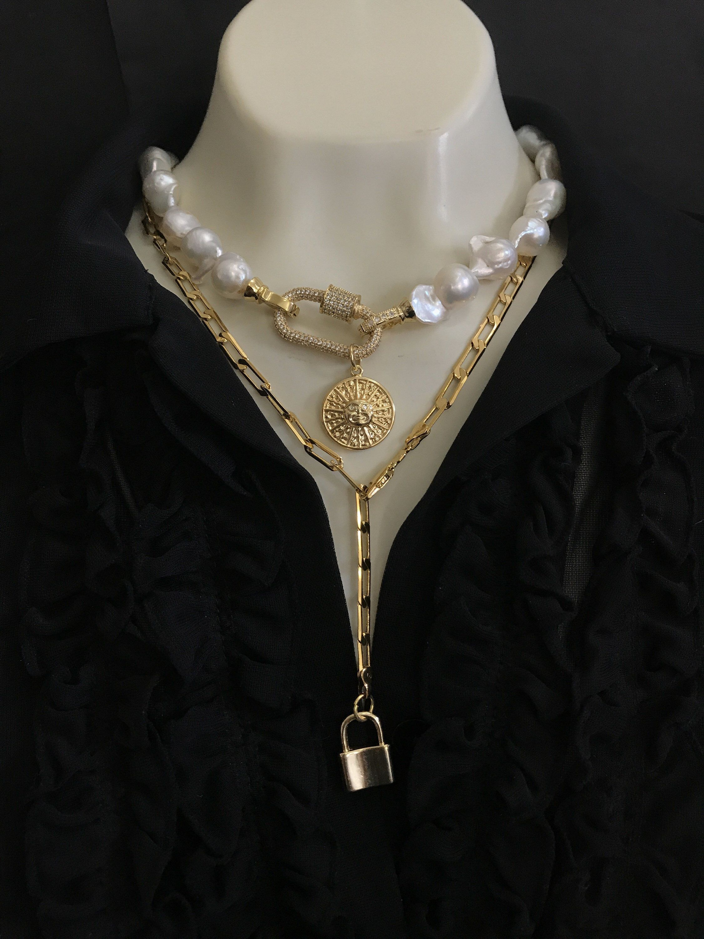 Star Coin Medallion Pearl Necklace baroque choker Gold Carabiner Metal Lock Golden Celestial Sun Pearl Choker gold medallion choker  Excited to share this item from my sh...