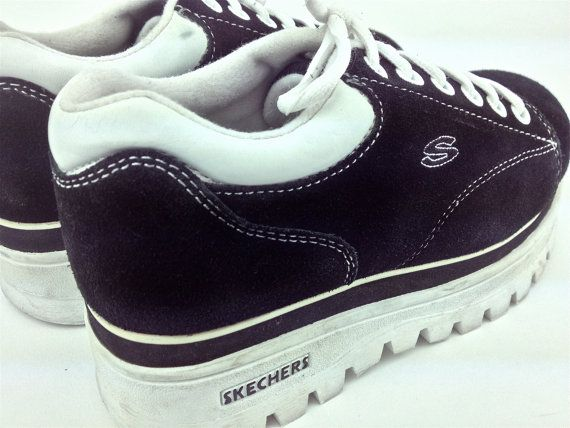 164613b3a79 90s vintage Skechers sneakers with chunky platform wedge. Suede uppers with  contrasting white stitching and