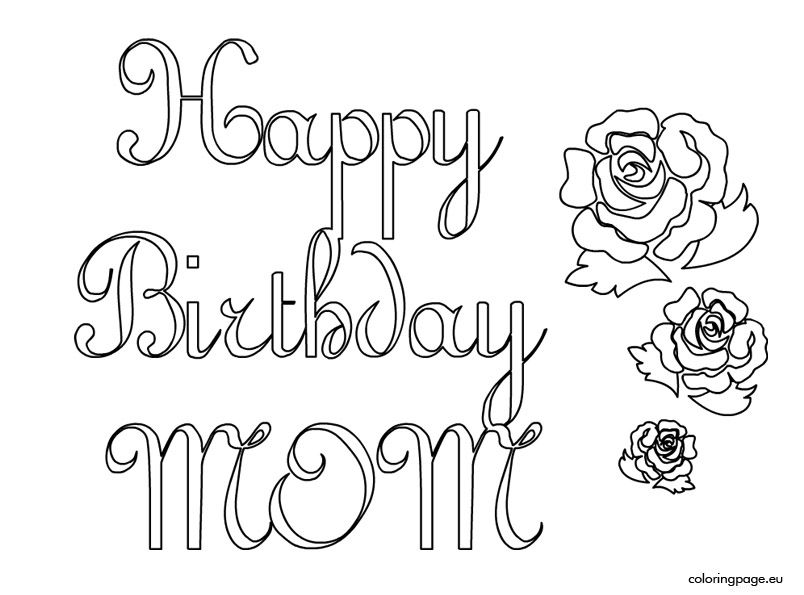happy birthday mom coloring pages # 1