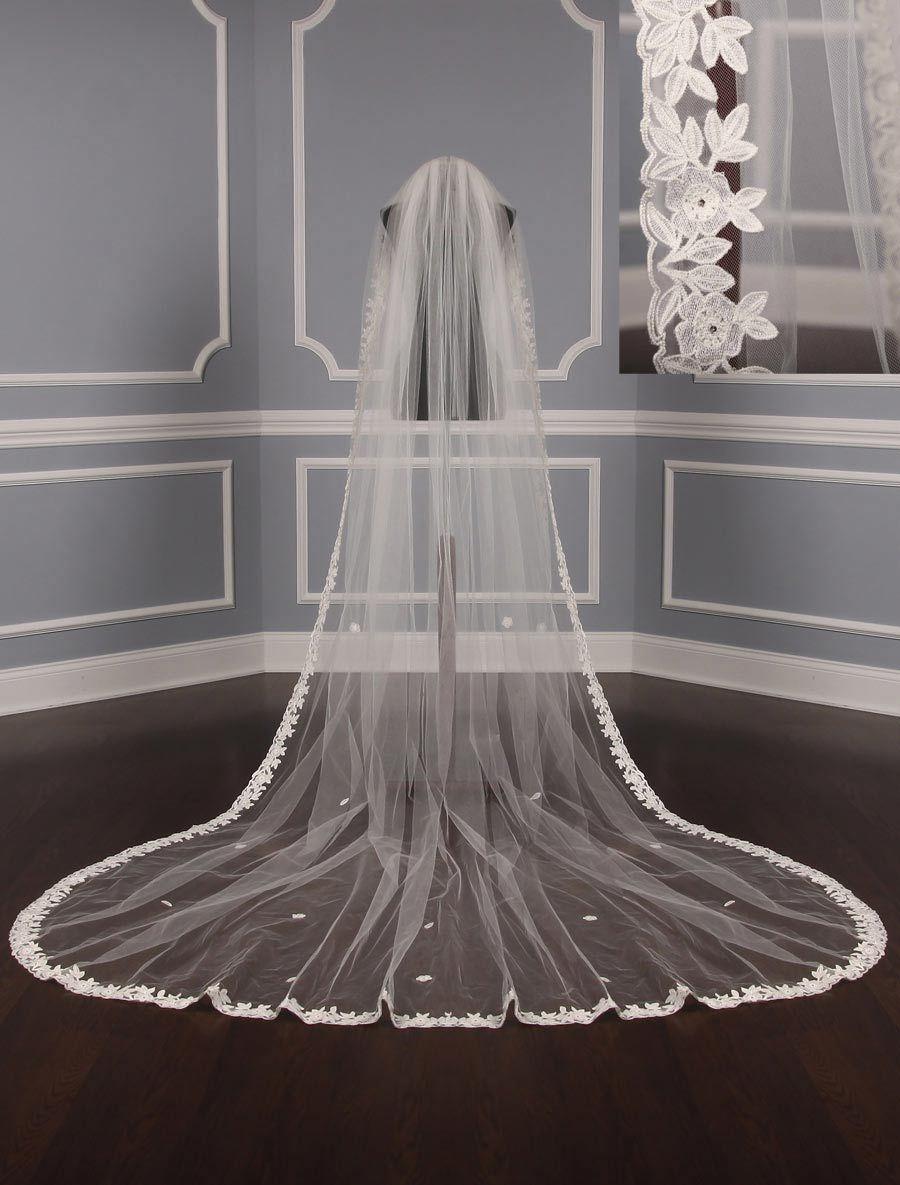 St. Pucchi M1479 Diamond White Chapel Length Bridal Veil