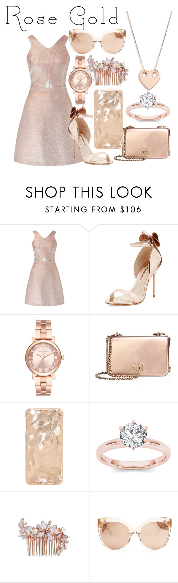 """""""Rose Gold Beauty"""" by pandapotter26 ❤ liked on Polyvore featuring Miss Selfridge, Sophia Webster, Michael Kors, Tory Burch, Camilla Christine, Linda Farrow and Ginette NY"""