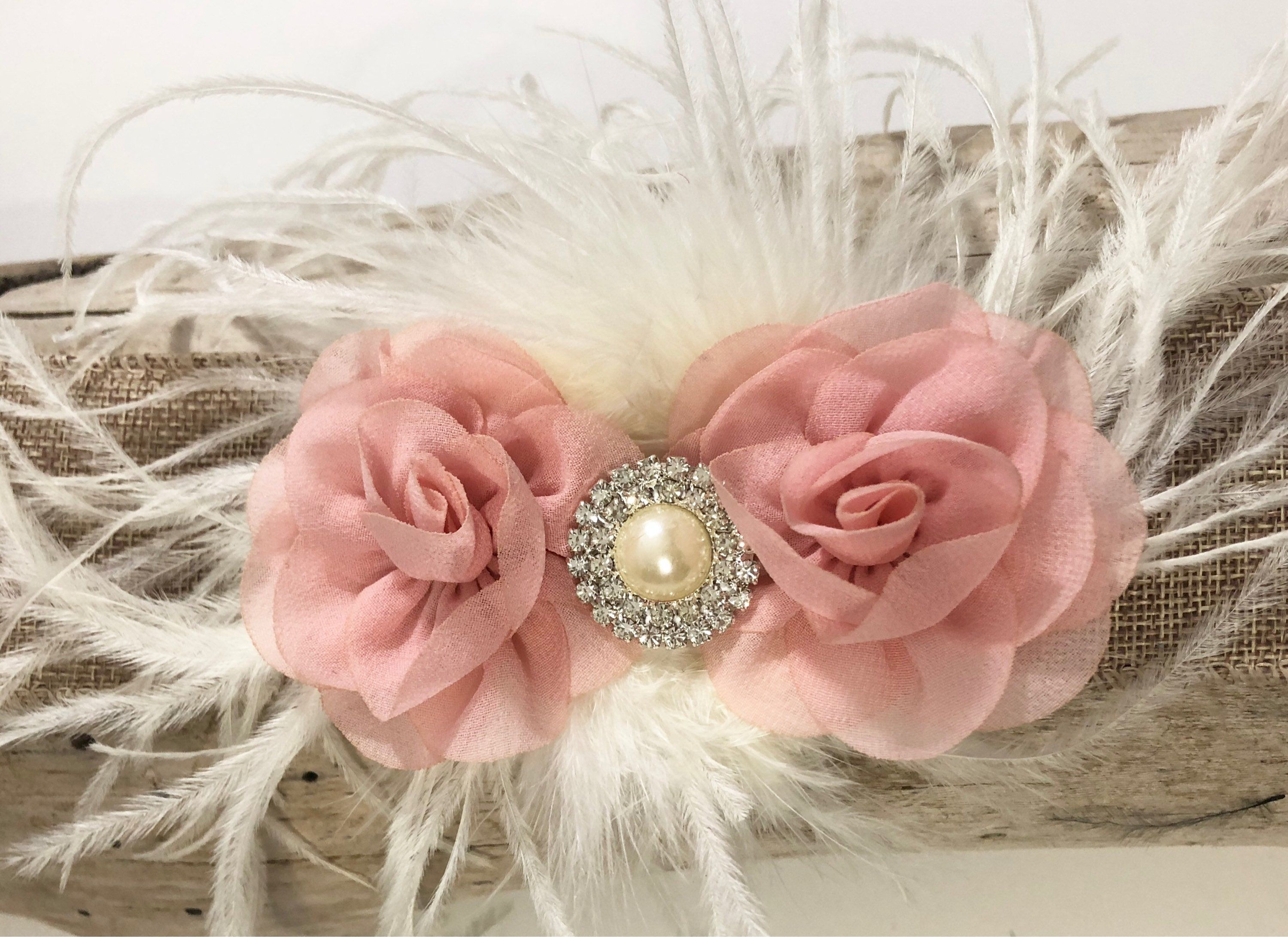 Pale Pink Flower Hair Clip Blush Pink White Mint Ivory Flower