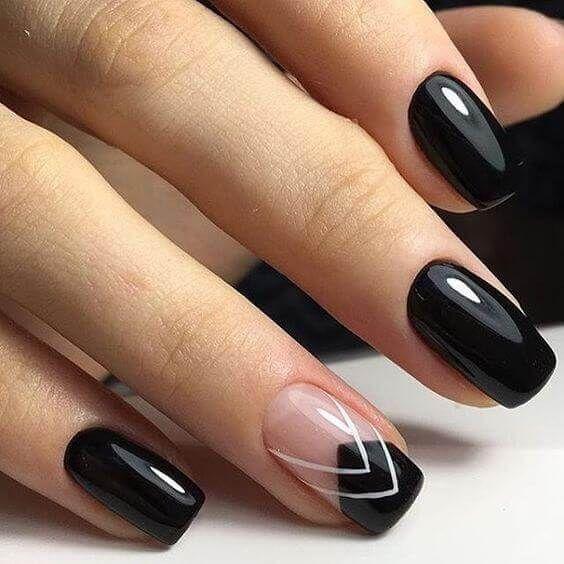 80 Disenos De Unas Decoradas Color Negro Decoracion De Unas Nail