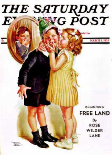 """March 5, 1936 • """"Birthday Kiss"""" Cover art by Frances Tipton Hunter. (American, 1896-1957)"""