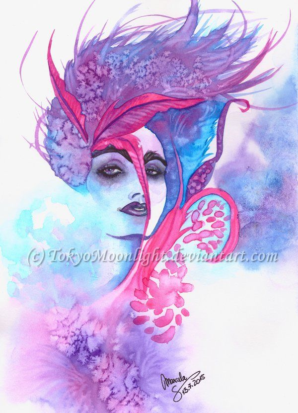 """""""Pink Feather"""" by TokyoMoonlight (Marcela),  watercolor,  DEVIANTART: http://tokyomoonlight.deviantart.com/ TUMBLR: http://tokyomoonlightart.tumblr.com/ #watercolor #painting #art"""