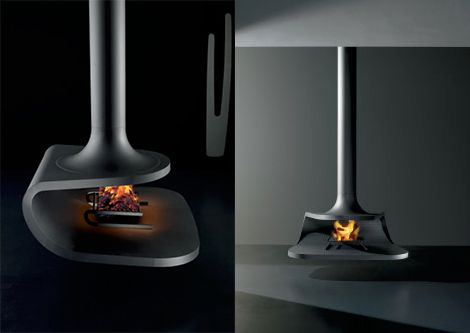 Suspended Fireplace hot new trend Fireplace design Ceiling
