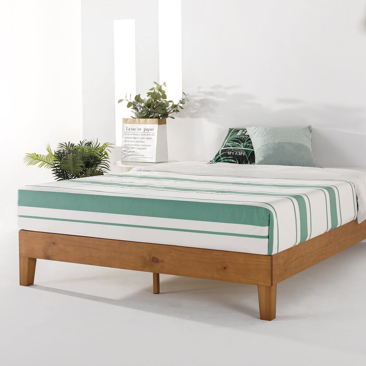 Mellow Naturalista Grand 12 Inch Solid Wood Platform Bed With Wooden Slats No Box Spring In 2020 Wood Platform Bed Frame Platform Bed Frame Solid Wood Platform Bed