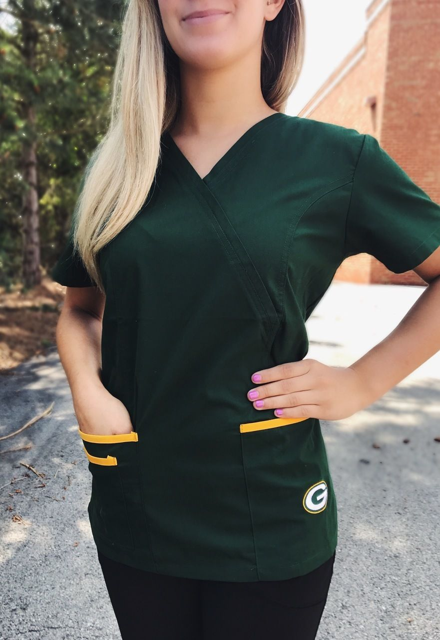 60c9b521109 Scrub Identity - Green Bay Packers Women's NFL Scrub Top with Front Patch  Pockets, $35.99