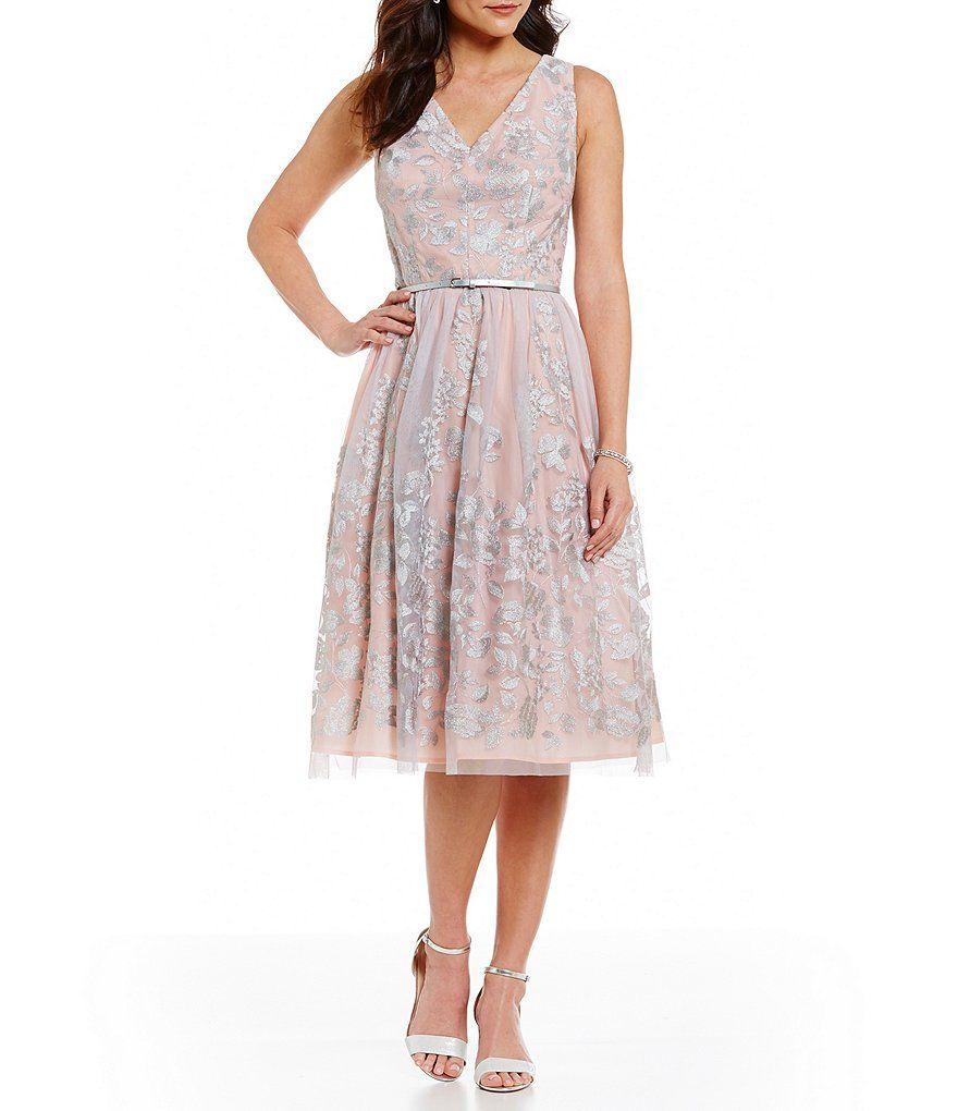 595935ca3 caro civil Jessica Howard V-Neck Metallic Embroidered Midi Dress ...