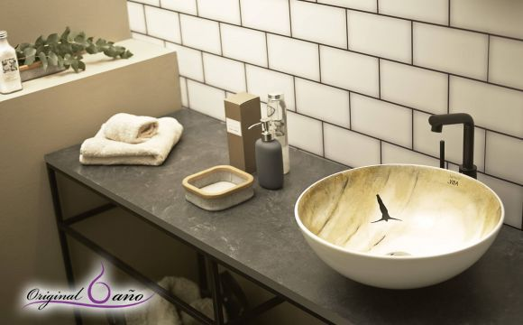 Lavabo sobre encimera decorado atelier bathco lavabos for Productos para el bano
