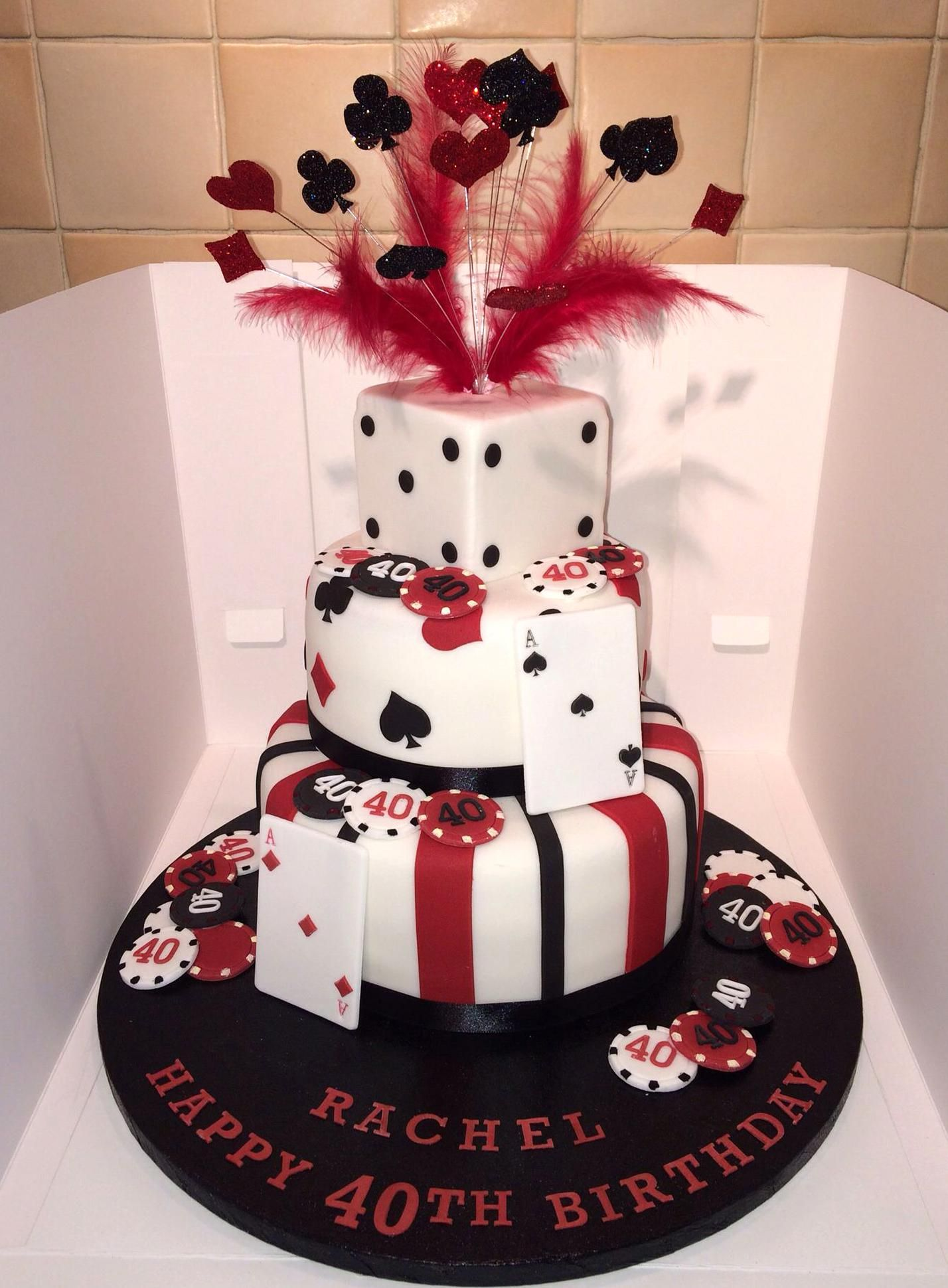 Casino theme cake with glitter wired explosion poker