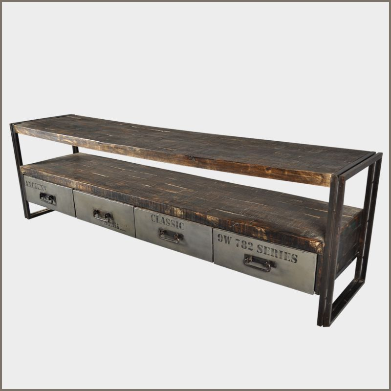 Rustic Metal Side Table With Drawer Iron Reclaimed