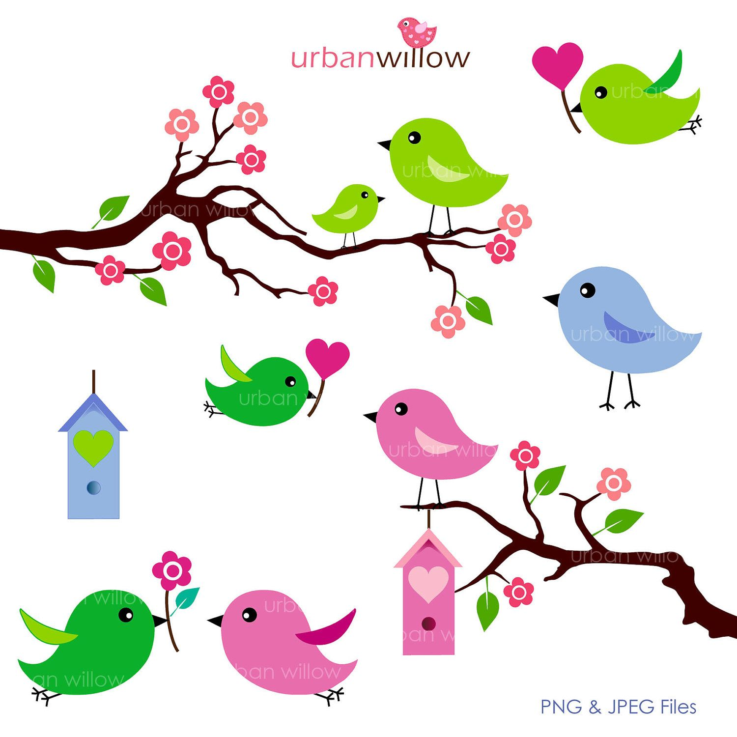 love birds apple green 6 piece clip art set for commercial and rh pinterest ca cute bird clipart black and white cute bird clipart black and white