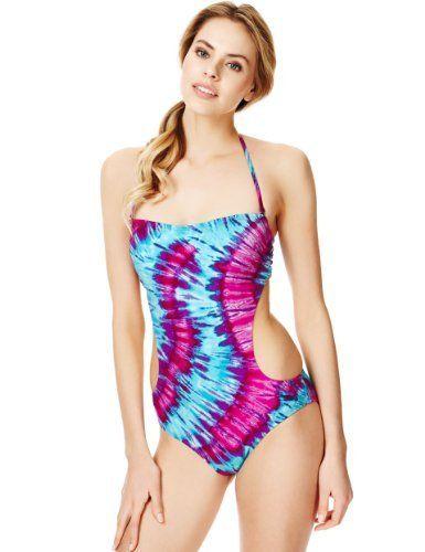 c041b4395432d Tie Dye Print Bandeau Swimsuit