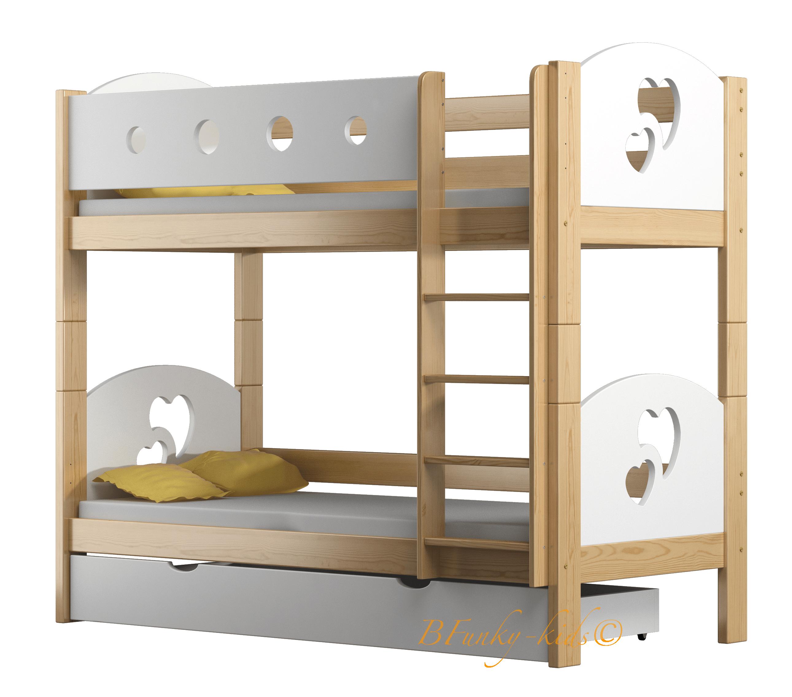 Letto a castello in legno massello Cuori 160x80 cm | Letti ...