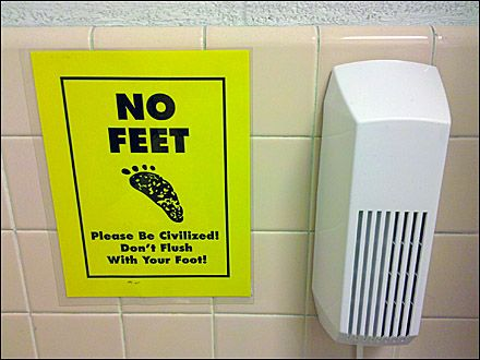 Don T Flush With Your Feet Restroom Notice Close Up