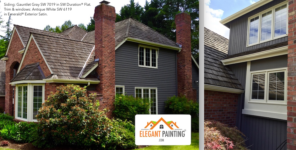 Gray Paint To Go With Red Brick Siding Color Sherwin Williams Gauntlet Gray Sw7019 She Brick House Exterior Colors Red Brick House Exterior Red Brick House