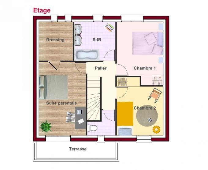 Cette maison contemporaine se présente avec un toit 4 pans Le rez
