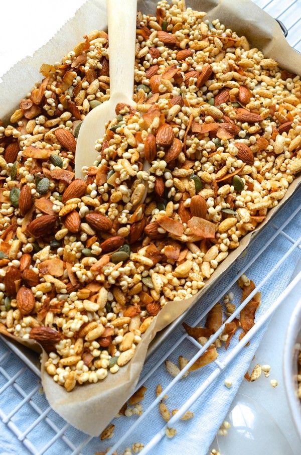 Gluten Free Millet Puffed Rice Honey Granola Bibbyskitchen Recipes Recipe Granola Recipes Granola Recipe Healthy Puffed Rice