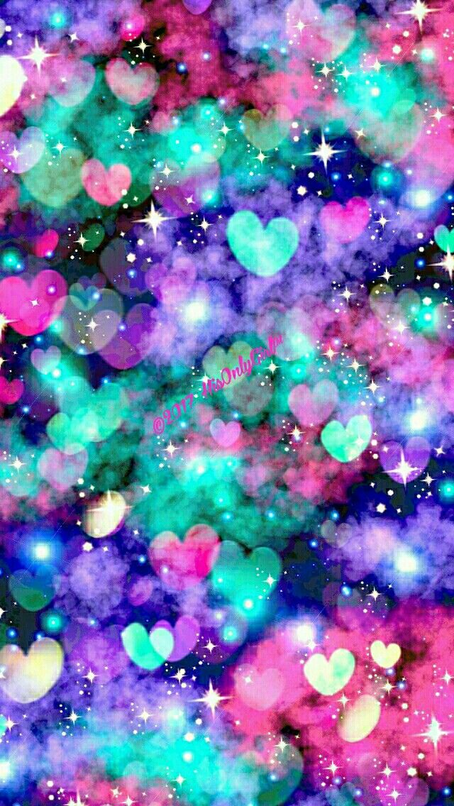 Sparkle heart bokeh galaxy iPhone & Android wallpaper I ...
