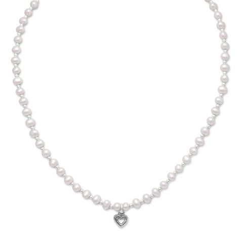 Children's Freshwater Pearl & Silver Bead Necklace with Oxidized Heart