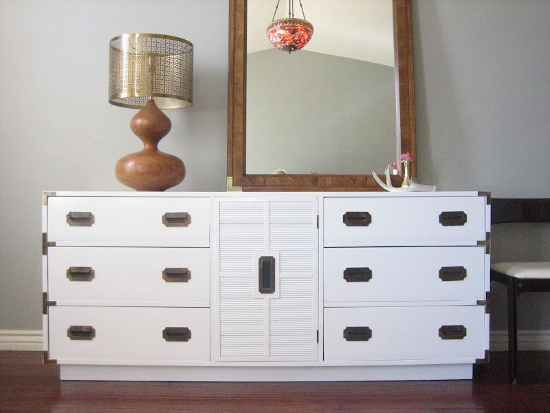Vintage Campaign Dresser Console In A Glossy White Lacquered Finish Check Out The Blog For Other Campaign Style Furniture Campaign Dresser Campaign Furniture