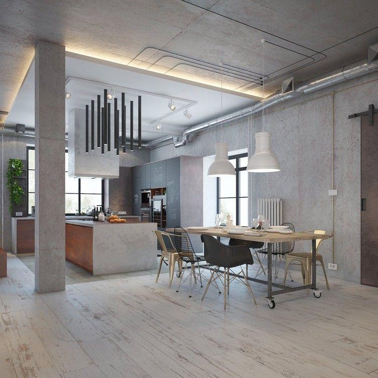 décoration industrielle dans cuisine ouverte sur la salle à manger ...