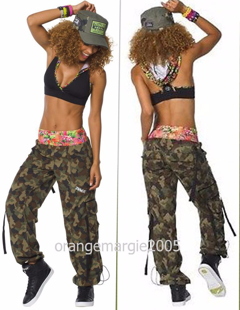 ZUMBA Nation 2Pc.Set!! Mashed Up Cargo Capri Pants + Hooded Bra Top RARE!! S  M L de4182f1f0a