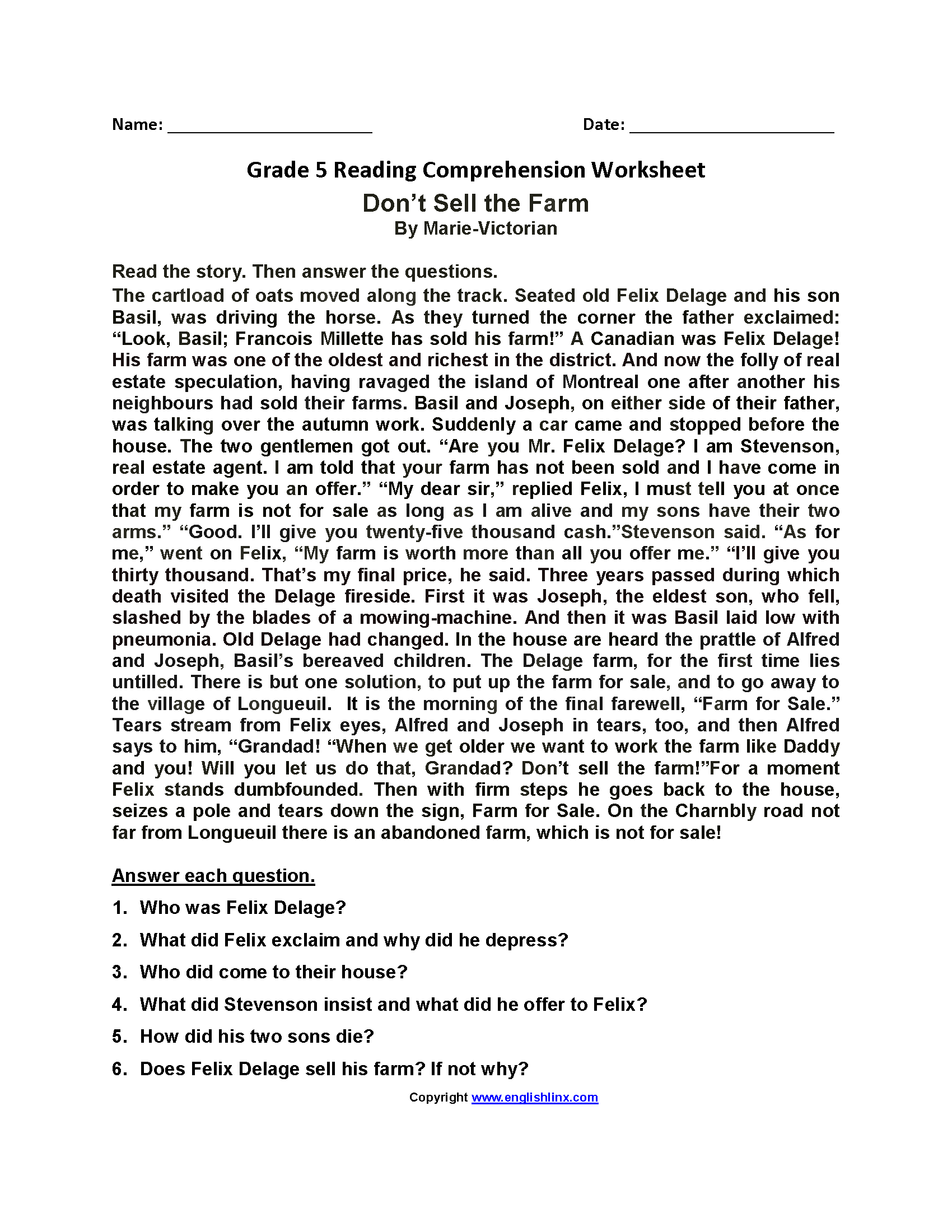 Don't Sell the Farm Fifth Grade Reading Worksheets   Comprehension  worksheets [ 2200 x 1700 Pixel ]