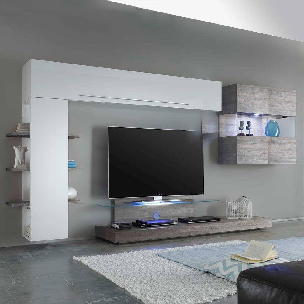 Wohnzimmer Anbauwand in Weiß Hochglanz Eiche Grau 320 cm breit (4 ...
