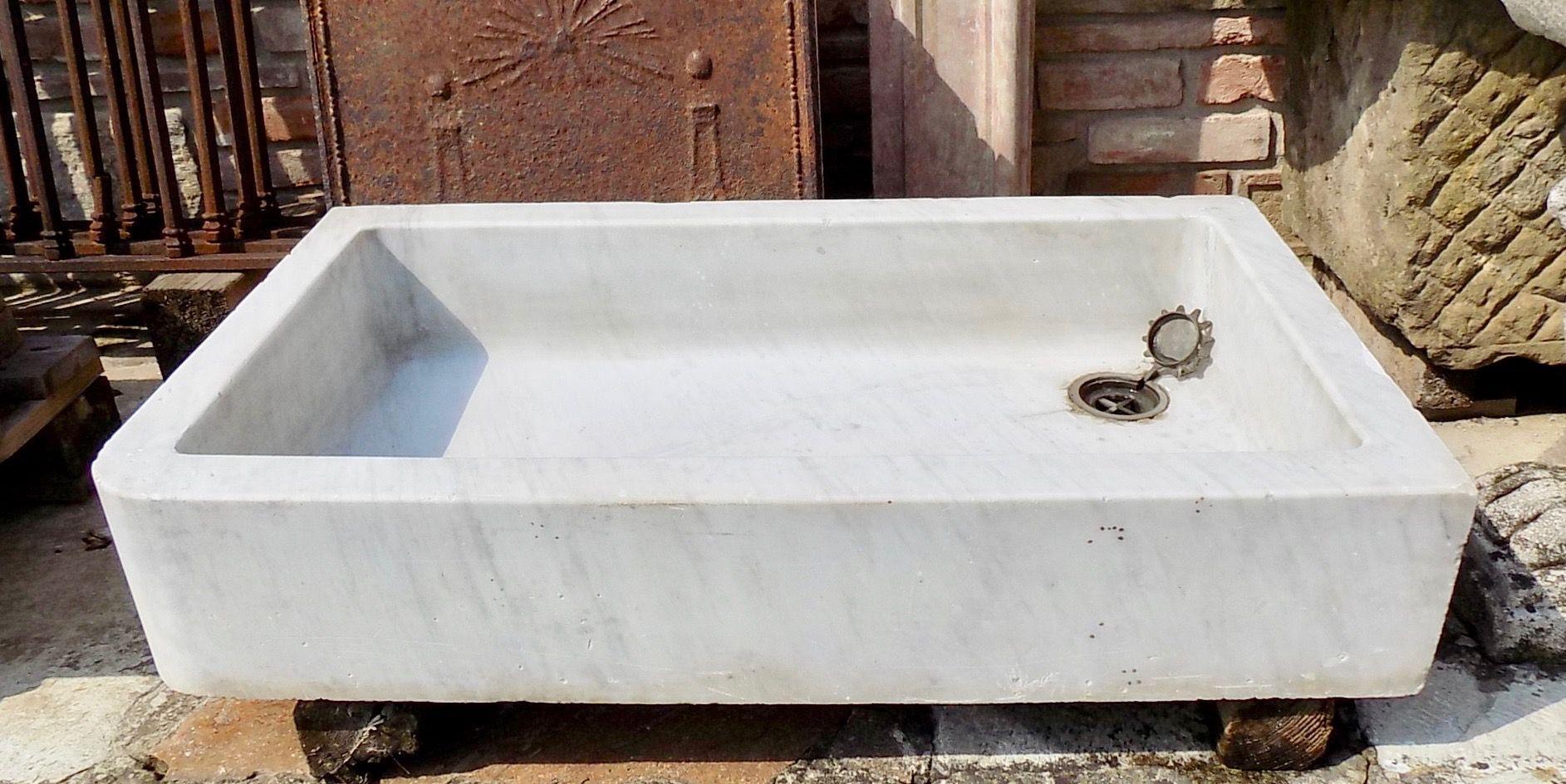Vecchio Materiale Da Copertura lavandino in marmo bianco originale vecchio di recupero (con