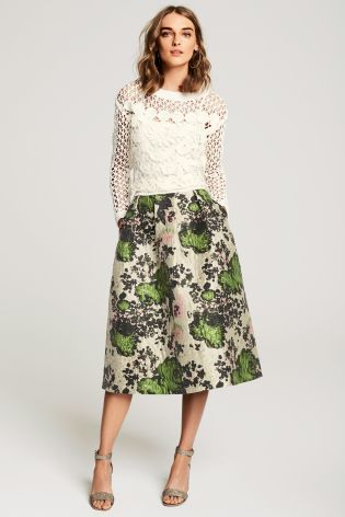 af0eed0405 Buy Stone Floral Jacquard Prom Skirt online today at Next: United States of  America