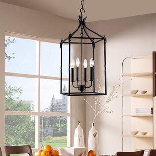 Beatriz 4light Black Classic Iron Hanging Lantern Chandelier