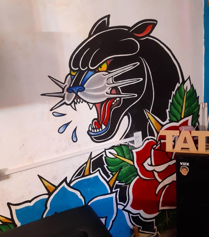 #tb 🔙🖌🎨 #mef #tattoostudio #pantera #painting #tattoostuff #traditonaltattoodesign #rosesandpanthers #freshpaint #tecnicamixta #tattostyle #tattooart #art #arttattoo #panteratradicional #diseñotradicional #mixedmedia #tattoolife #mexicanoschingandolecabron #tatuadoresmexicanos #tattooworld #tatúate