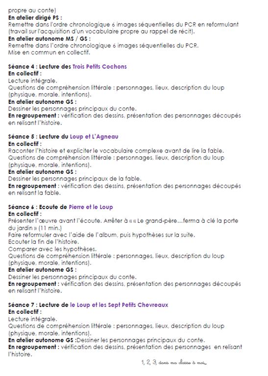 Un Projet Sur Le Loup 1 2 3 Dans Ma Classe A Moi Loup Education Musicale Le Petit Chaperon Rouge