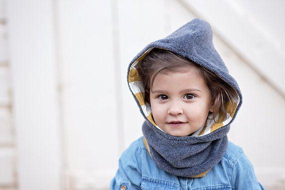 Hooded Fleece Cowl for Kids.reversible.Childrens Hat.Boys Hat.Girls ...