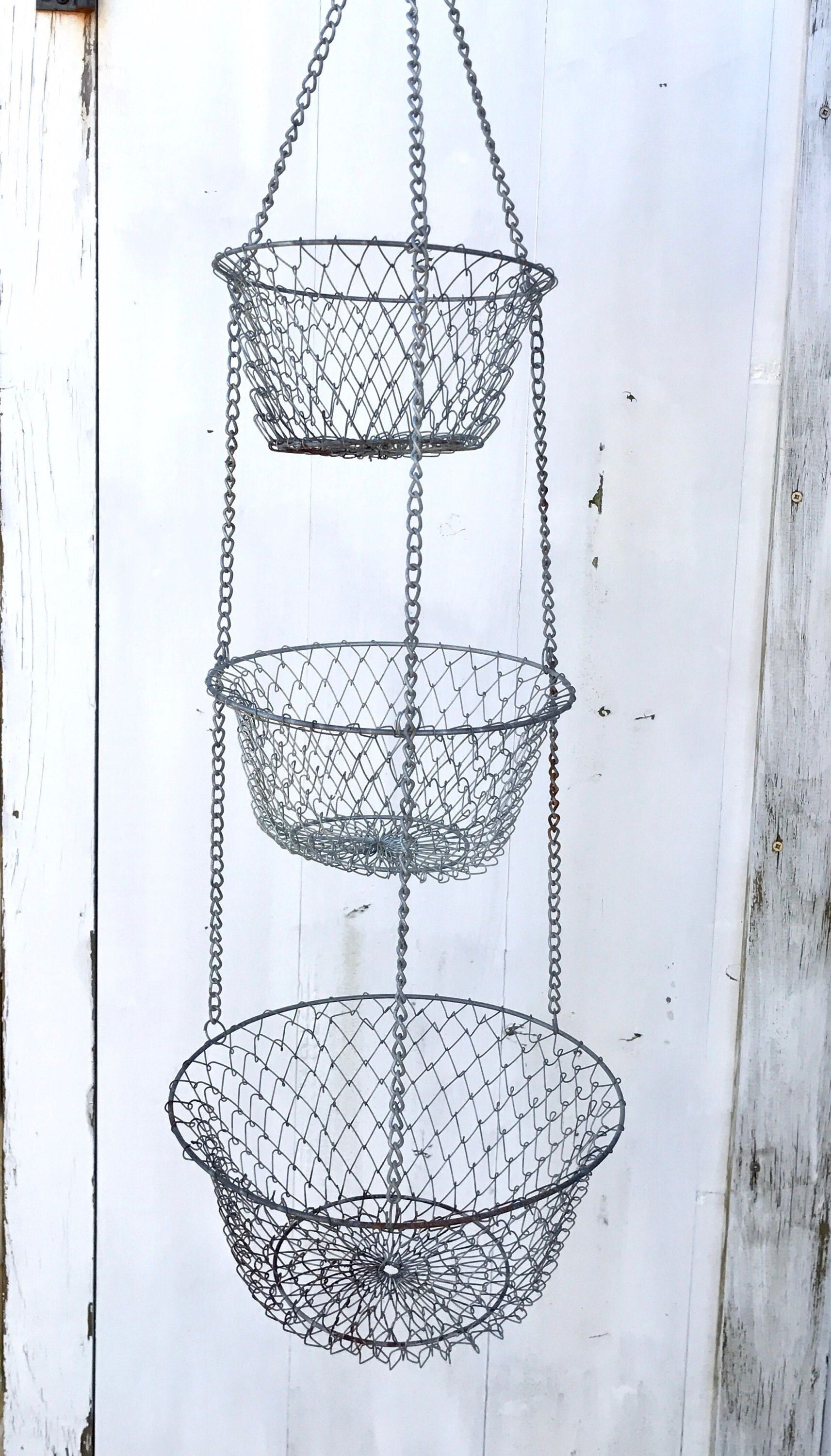 Hanging Fruit Basket | 3 Tier Basket | Wire Mesh | Egg Basket ...