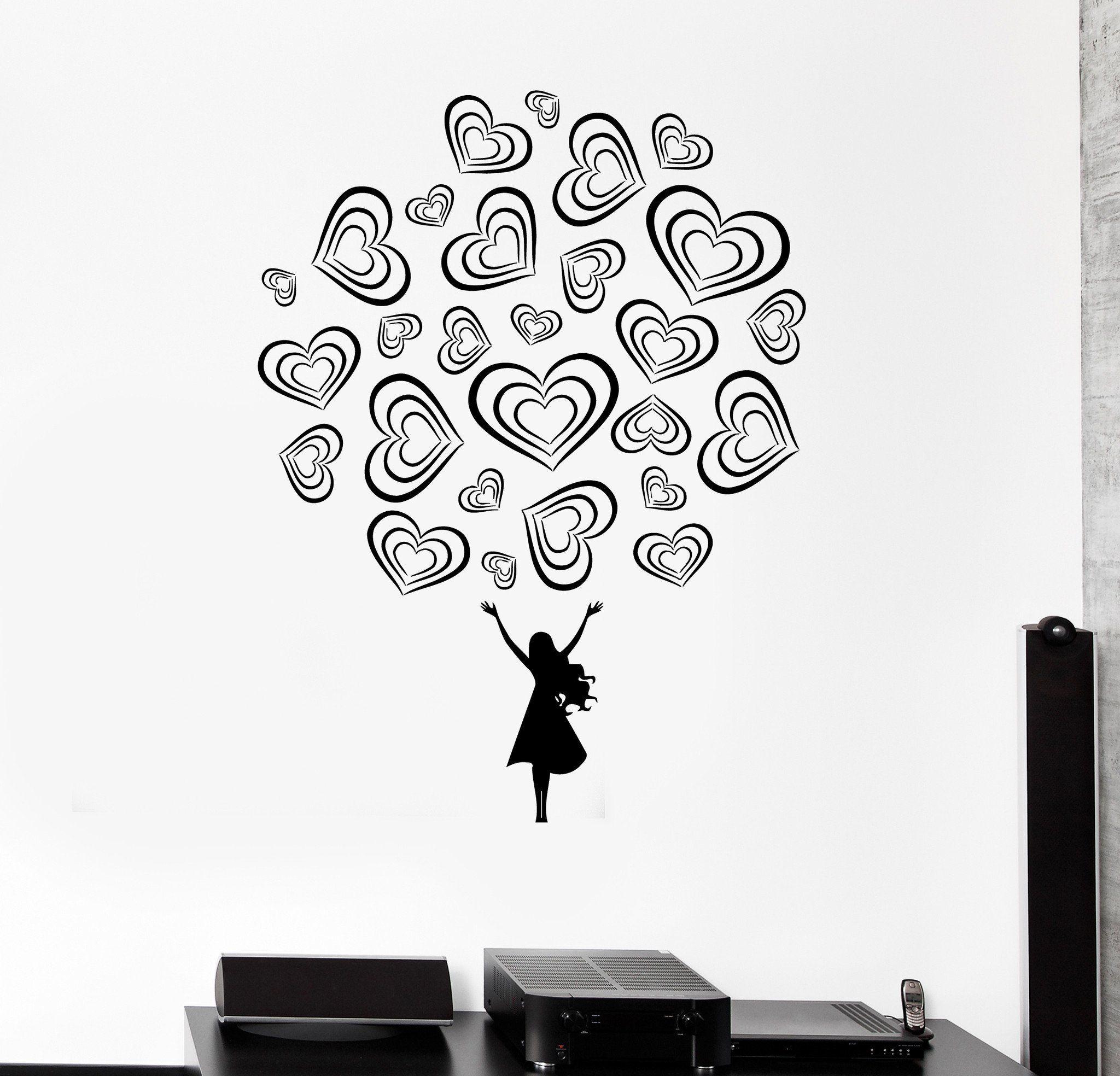 Wall decal teen girl love romance beautiful decor vinyl stickers
