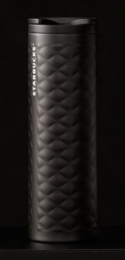 Quilted Stainless Steel Tumbler - Black, 16 fl oz