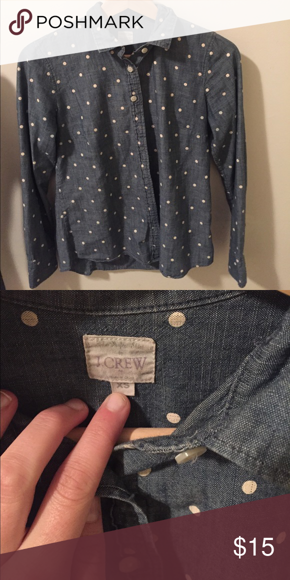 JCrew polka dot chambray shirt Can be dressed up or down, classic chambray shirt with polka dots. J. Crew Tops Blouses