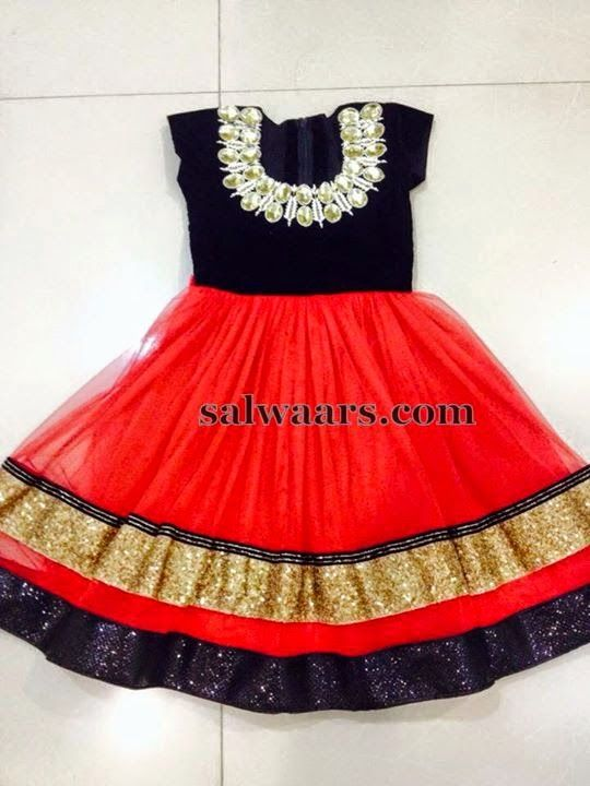 739685ad06e5 Red and Black Stone Work Frock