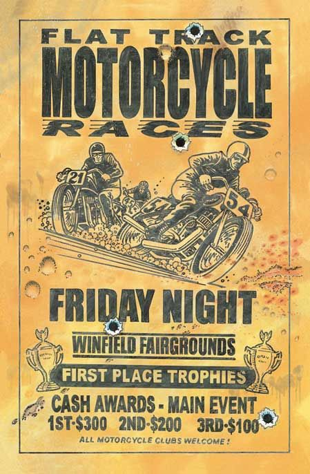 Vintage Friday Night Flat Track Motorcycle Races Poster.